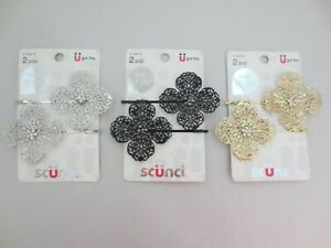 Lot of 3~Scunci Glam Bobby Pins~Gold, Silver and Black Colors~2 Each~Brand New