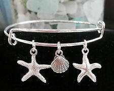 2 Star Fish * Silver charms & Sea Shell Silver charm Expandable Bangle Bracelet