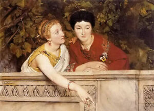 Oil painting sir lawrence alma tadema - gallo roman women two young ladies art
