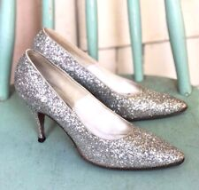 1950s Bright Silver Glitter! Sparkle Party Heels Shoes Holiday De Liso Debs 7Aa
