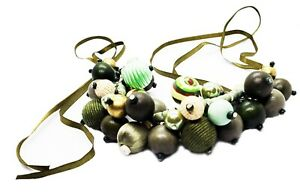 Women's Necklace Catalogue Fashion Jewellery – GREEN MINI BEAD CLUSTERED RIBBON