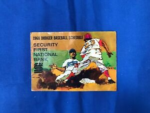 RARE 1968 Security First Bank Los Angeles Dodgers Pocket Schedule GOOD Cond.
