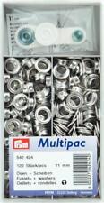 Prym Ösen mit Scheiben 11 mm, silber-farbig, 120 Stück  Multipack  542424