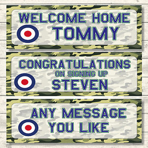2 PERSONALISED 800mm x 297mm RAF WELCOME HOME - CONGRATULATIONS - BANNERS