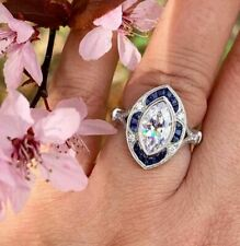 Set Engagement Ring 925 Sterling Silver 3Ct Marquise White Moissanite Bezel Halo