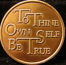 Alcoholics Narcotics Anonymous AA NA Bronze Medallion TO THINE OWN SELF B.. C