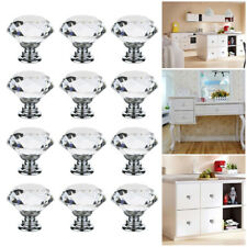 12x Clear Crystal Diamond Glass Knobs Cupboard Drawer Furniture Handle Cabinet