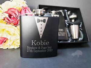Personalised Engraved 6oz black Hip Flask. Groomsman Wedding Best Man Box bhfgs6