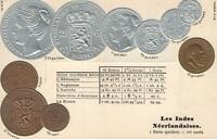1900's VINTAGE NETHERLANDS EMBOSSED COPPER SILVER & GOLD COINS POSTCARD - UNUSED