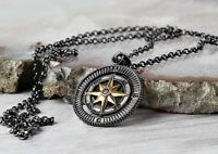 COMPASS Turkish Handmade Mens No stone Pendant Necklace 925 Sterling Silver