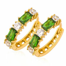 Fashion 18k Gold Filled White Green Circle Cubic zirconia  Huggie Hoop Earrings