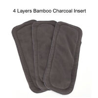 4 Layers Soft Reusable Newborn Bamboo Charcoal Cotton Liners Cloth Diapers I2