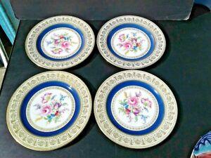 Gold edge Thomas Bavaria Antique blue scrolls. 1908 pink roses art-nouveau florals Rosenthal The Belvedere dinner plate