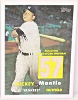 2008 MICKEY MANTLE 1957 Topps Game Used Uniform #'d Only 44/57 New York Yankees