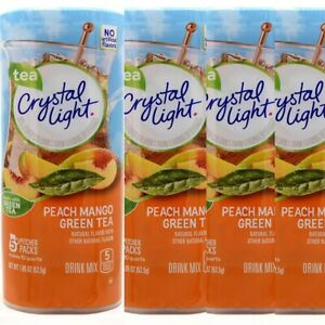 Lot of 4 Crystal Light PEACH MANGO Green Tea Drink Mix 10 Qt Canisters 10/28/22