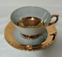 Vintage KAHLA Germany China DEMI / DEMITASSE CUP & SAUCER - Gray & Gold Bands
