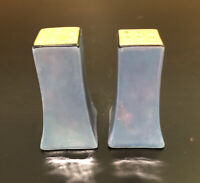 Vintage Art Deco Salt and Pepper Shakers Blue Lusterware Japan