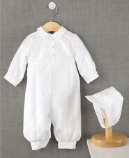 Lauren Madison Baby Boys' Baptism Christening Romper & Hat Set, White 6-9 Months