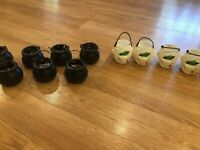 lot of 12 halloween Tiny treat plastic baskets - witch cauldron & mummy heads
