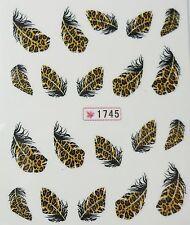 Accessoire ongles : nail art - Stickers autocollants - plumes léopard
