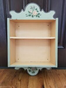 Vintage Blue handpainted floral shabby hang Wall Shelf cabinet cupboard Country