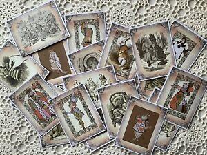 20 Alice In Wonderland Journal Cards -Vintage Illustrations -Card Toppers -Craft