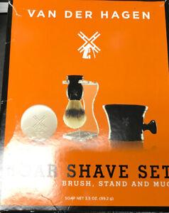 ✅ Van Der Hagen Men's Luxury, 3-Piece Boar Shave Set [Open Box] + Bonus