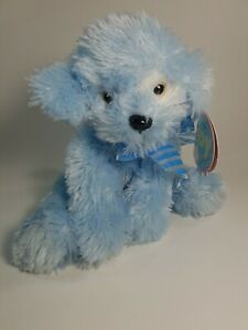 "First And Main 10"" Plush Stuffed Animal Toy Blue Dog with Embroidered Eyes NWT"