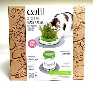 CATIT SENSES 2.0 GRASS PLANTER 🐱 W/ GRID COVER & GERMINADOR - NEW IN BOX!