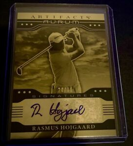 2021 UD Artifacts PGA Rasmus Hojgaard Gold Aurum Autograph AUTO RC Card 74/99