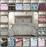 3Pcs cotton rich duvet set quilt cover & pillow case single double king S-king