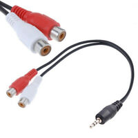 Stereo Male Jack To 2 RCA Female Plug Adapter Headphone Cable 3.5mm YAudio A6V5