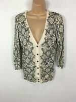 WOMENS H&M IVORY FLORAL PATTERNED BUTTON UP V-NECK CARDIGAN LONG SLEEVE EUR S