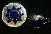 VINTAGE LINDNER KUEPS BRABANT BAVARIA GERMANY ECHT COBALT BLUE GOLD CUP & SAUCER