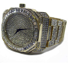 Baguette Dial Faux Diamond Gold Plated Metal Strap HipHop Bling Watch
