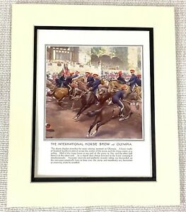 1914 Antique Print The International Horse Show Olympia London Equestrian Event