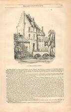 Château de Rubens à Steen Flandre Belgique GRAVURE ANTIQUE OLD PRINT 1836