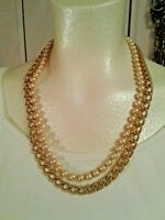 Anne Klein goldtone chain with faux pearl 2 strand necklace