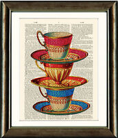 Antique Book page Art Print - Stacked Teacups Dictionary page print