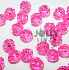 6mm Shocking Pink Faceted Acrylic Beads 500 piece bag