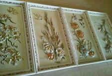 Vtg Floral Relief Framed Mid Century S/4 ~ Seasons ~ Signed