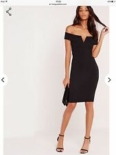 Missguided Black V Front Bardot Bodycon Dress. Size 10.