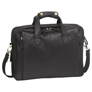 Pierre Cardin Italian Leather Messenger Bag with Padded Pouch for Laptop