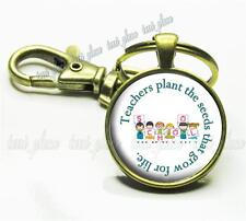 Teachers Plant the Seeds Glass Key Chain Kids School Teacher's Appreciation Gift