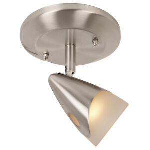 1 Head Pan Fixed Track Spot Light Kit Ceiling Flush mount Brushed Steel Finish
