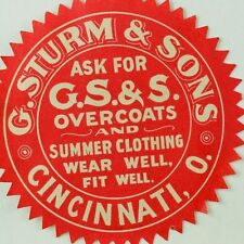 1880's-90's G. Sturm & Sons Overcoats Summer Clothing Cincinnati, OH Sticker F92