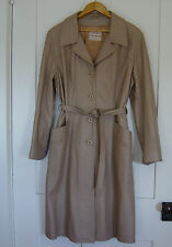 "WOMEN'S FULL LENGTH LEATHER COAT JACKET ""LEATHERS"" TAN BUTTON DOWN SIZE 16"