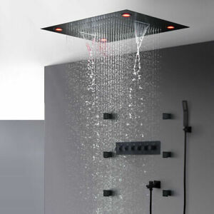 Matte Black Shower Waterfall Lateral jet Shower Head Thermostatic LED Shower Set