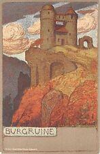 c.1905 Burgruine Germany post card artist sgd. Ernst Liebermann Art Nouveau