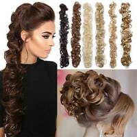 Synthetic Soft Women Donuts Head Circle Ball Curly Long Ponytail Horsetail Wig l